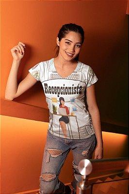 T shirt Feminina Profissão no Atacado Recepcionista