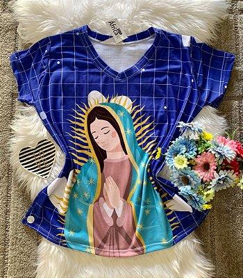T shirt Feminina Religiosa no Atacado Santa Fundo Azul