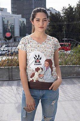 T shirt Feminina Profissão no Atacado Veterinária cachorrinho