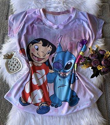Camiseta Feminina Personagem No Atacado Lilo e Stitch