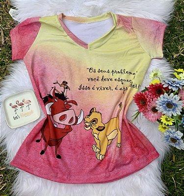 Camiseta Feminina Personagem No Atacado Timão e Pumba
