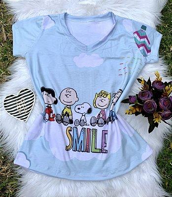 Camiseta Feminina Personagem No Atacado Turma Snoopy Smile