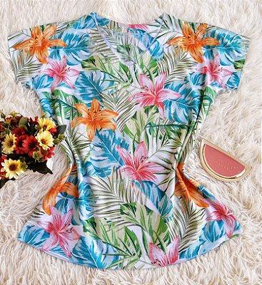 Camiseta Feminina Floral no Atacado Folhas Coloridas