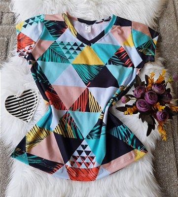 Camiseta Feminina Floral no Atacado Triângulos