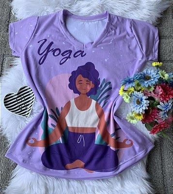 T shirt Feminina Profissão no Atacado Yoga Fundo Lilás