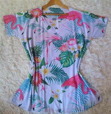 T-Shirt Feminina no Atacado Flamingos e Plantas