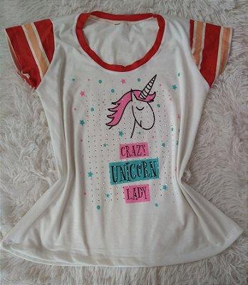 T-Shirt Feminina Para Revenda Crazy Unicorn