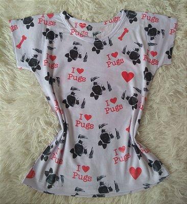 Tshirt Feminina no Atacado I love pugs