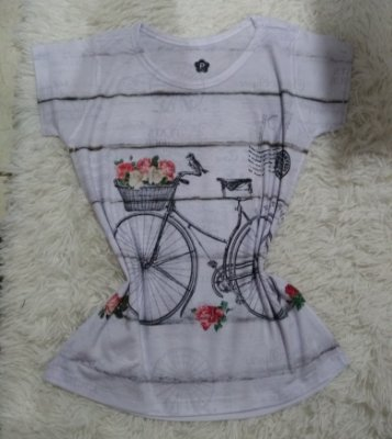 T-Shirt Feminina no Atacado Bike Listras