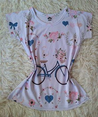 Blusa Feminina no Atacado Bike Rosas Corações