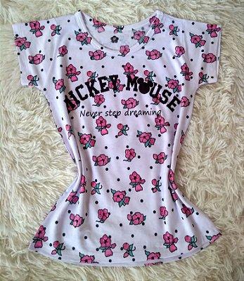 Blusa Feminina Para Revenda Mickey Mouse Flores