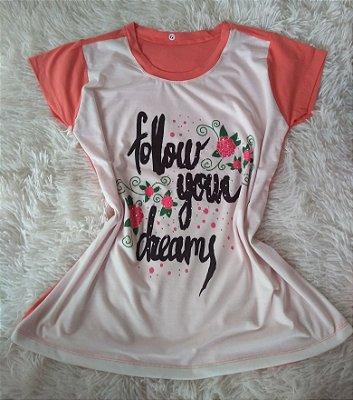 T-Shirt Feminina no Atacado Follow Your Dreams