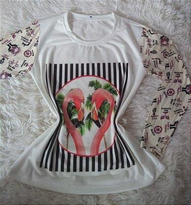 TShirt Feminina Para Revenda Flamingos e Coqueiros