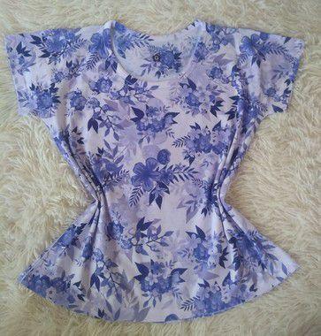 Blusinha Feminina Para Revenda Flores e Plantas Azuis