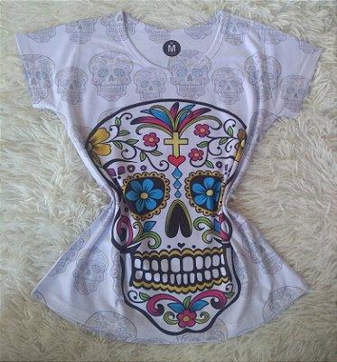 Camiseta Feminina no Atacado Caveira Mexicana