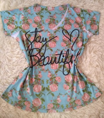 T Shirt Feminina no Atacado Stay Beautiful