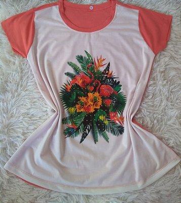 Tee Feminina Para Revenda Flamingos Flores e Plantas