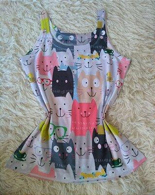 Camiseta Feminina Para Revenda Gatos Coloridos