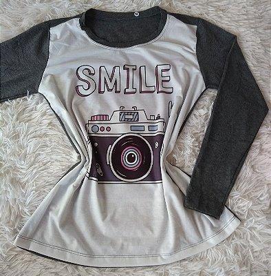 T-Shirt Feminina no Atacado Câmera Smile