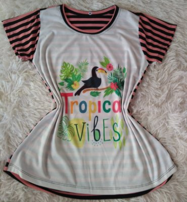T-Shirt Feminina no Atacado Tropical Vibes