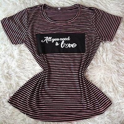 T-Shirt Feminina Para Revenda Love