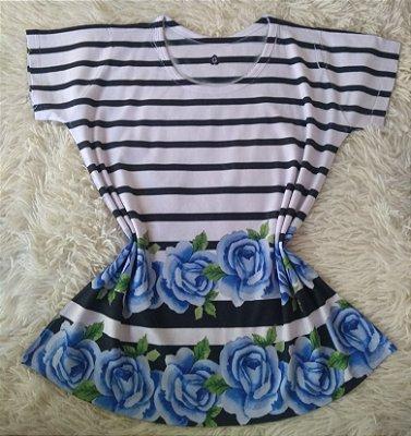 Blusa Feminina no Atacado Flores Azuis