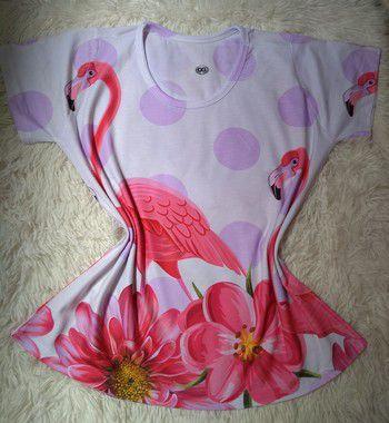 Tee Feminina no Atacado Flamingo e Flores