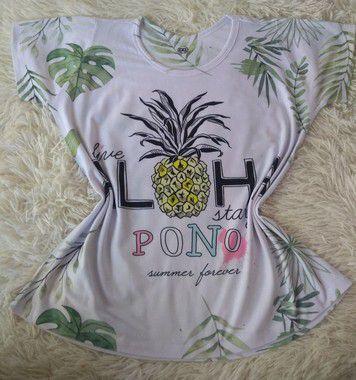 T Shirt Feminina Para Revenda Aloha Abacaxi