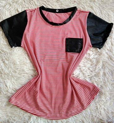 T Shirt Feminina no Atacado Listrada Rosa Bolso