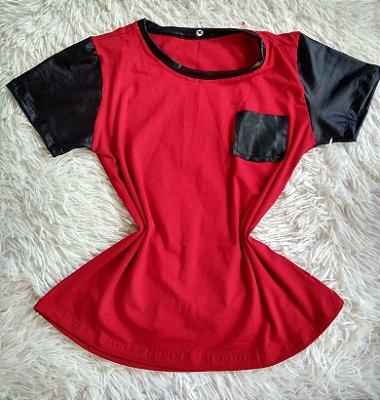 T Shirt Feminina Para Revenda Vermelha Bolso