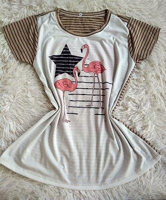 Tee Feminina Para Revenda Flamingos e Estrela