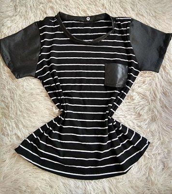 T-Shirt Feminina Para Revenda Listrada Preta Bolso