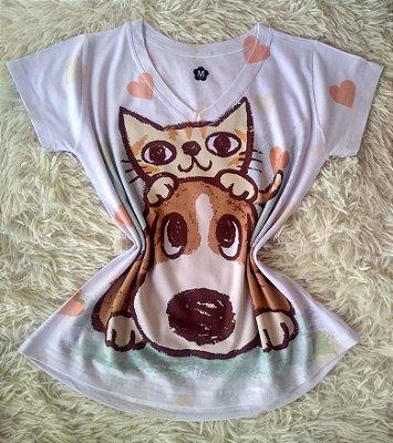 T-Shirt Feminina Para Revenda Cachorro e Gato