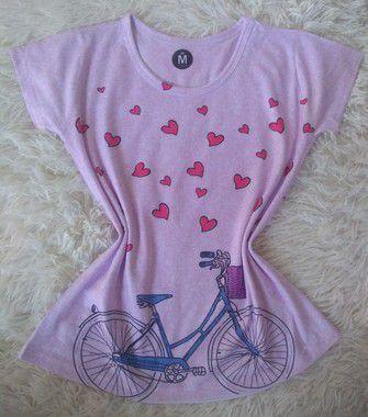 TShirt Feminina no Atacado Bike Corações