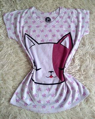 T-Shirt Feminina Para Revenda Gato Rosto