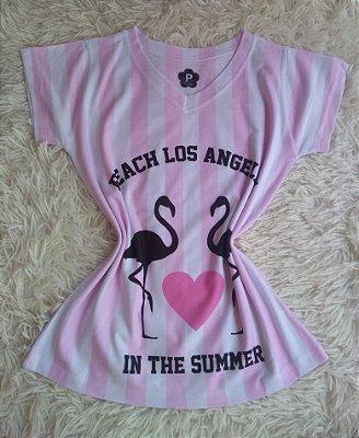 Tee Feminina no Atacado Flamingos Summer