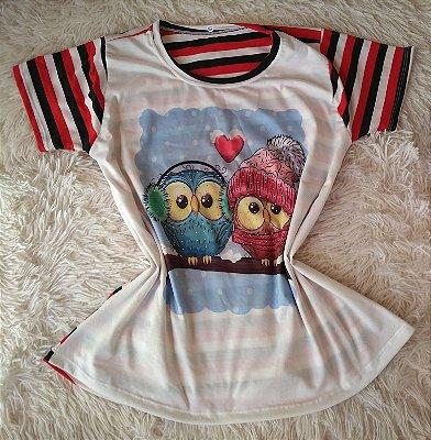 T Shirt Feminina Para Revenda Casal de Corujas