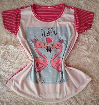 T Shirt Feminina no Atacado Casal de Flamingos