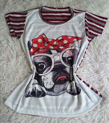 T Shirt Feminina no Atacado Dog Óculos Laço