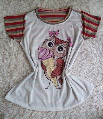 T Shirt Feminina Para Revenda Coruja Casquinha