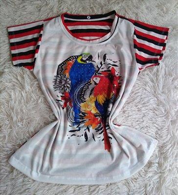 T-Shirt Feminina no Atacado Papagaios