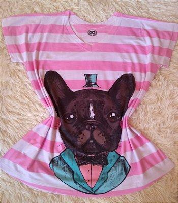 T-Shirt Feminina Para Revenda  Dog Listras