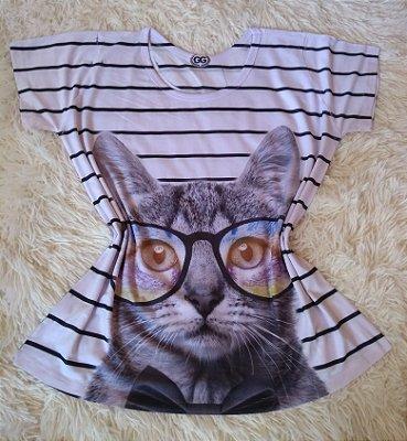 TShirt Feminina Para Revenda  Gato de Óculos