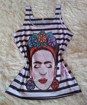 Camiseta Feminina Para Revenda Frida Listras