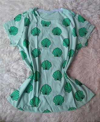 T-Shirt Feminina Para Revenda Conhas Fundo Verde