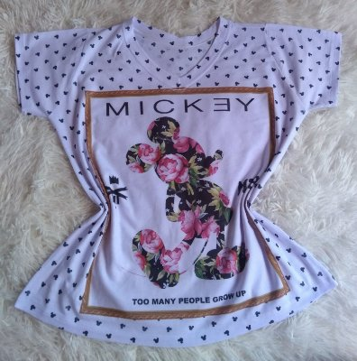 T-Shirt Feminina no Atacado Mickey Floral