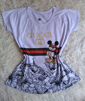 TShirt Feminina no Atacado Mickey Gucci Flores