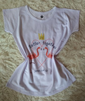T Shirt Feminina no Atacado Flamingos Better Together