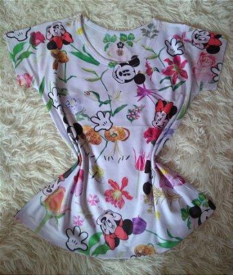 T Shirt  Feminina no Atacado Mickey Minnie Plantas