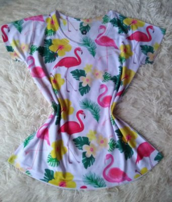 T Shirt Feminina no Atacado Flamingos Flores Plantas